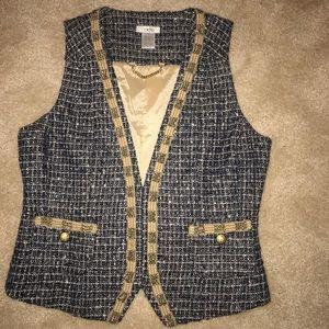Cache Tweed Vest. Size 6 Navy Blue Gold